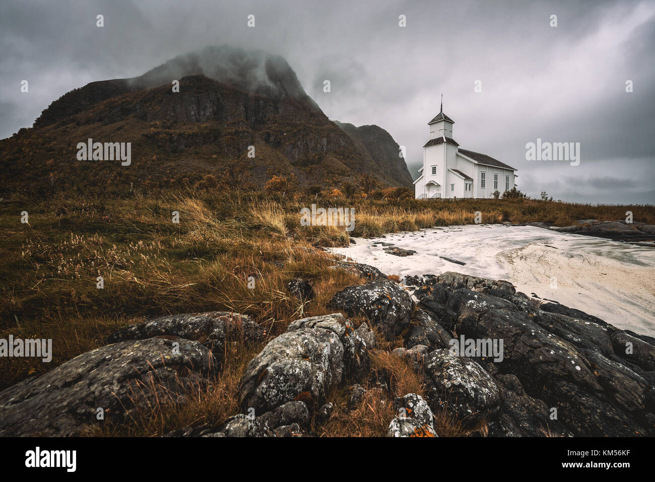 Gimsoy church on Lofoten Islands in Norway - Stock Image