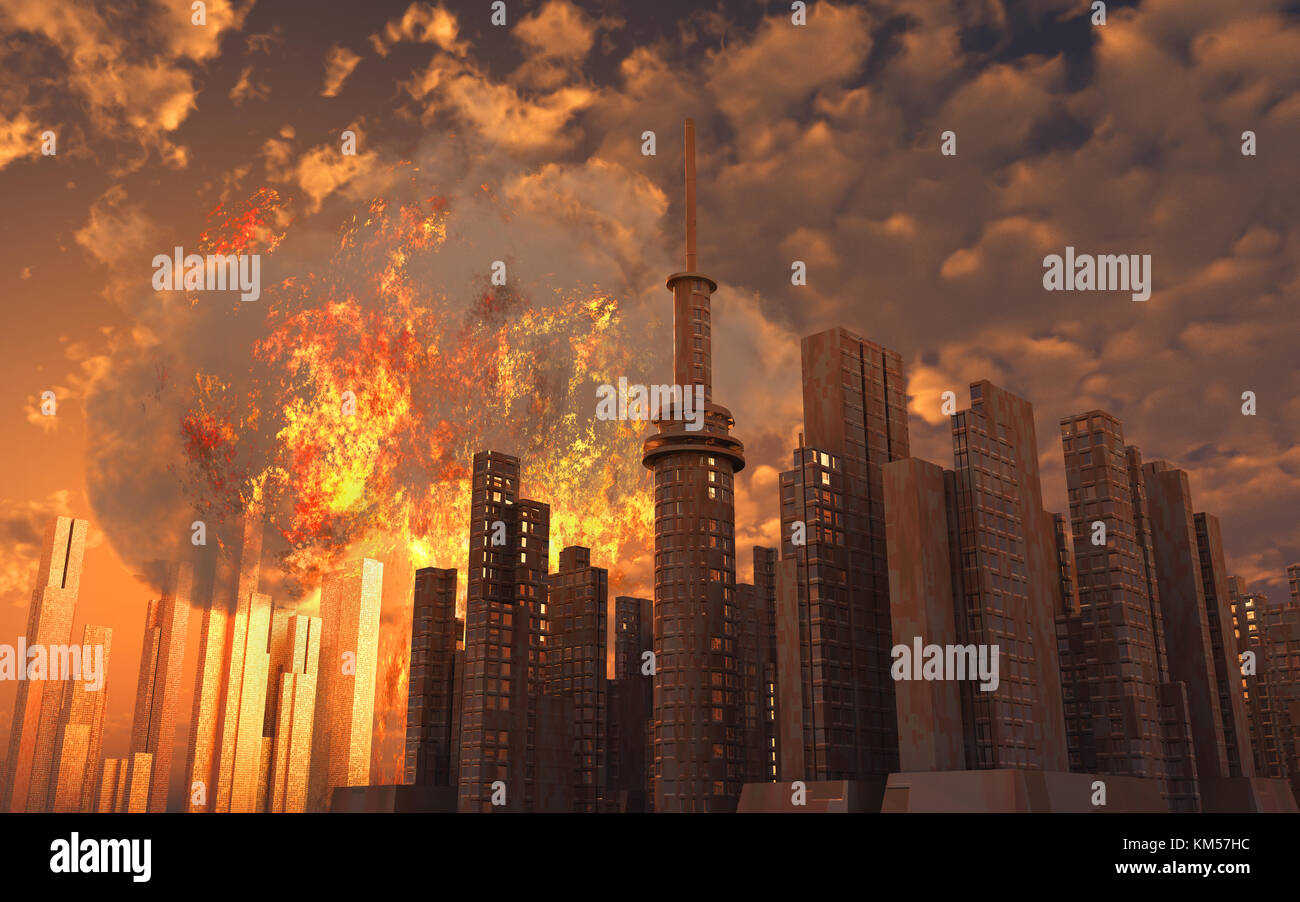 A Nuclear Explosion Going Off In A City - Stock Image