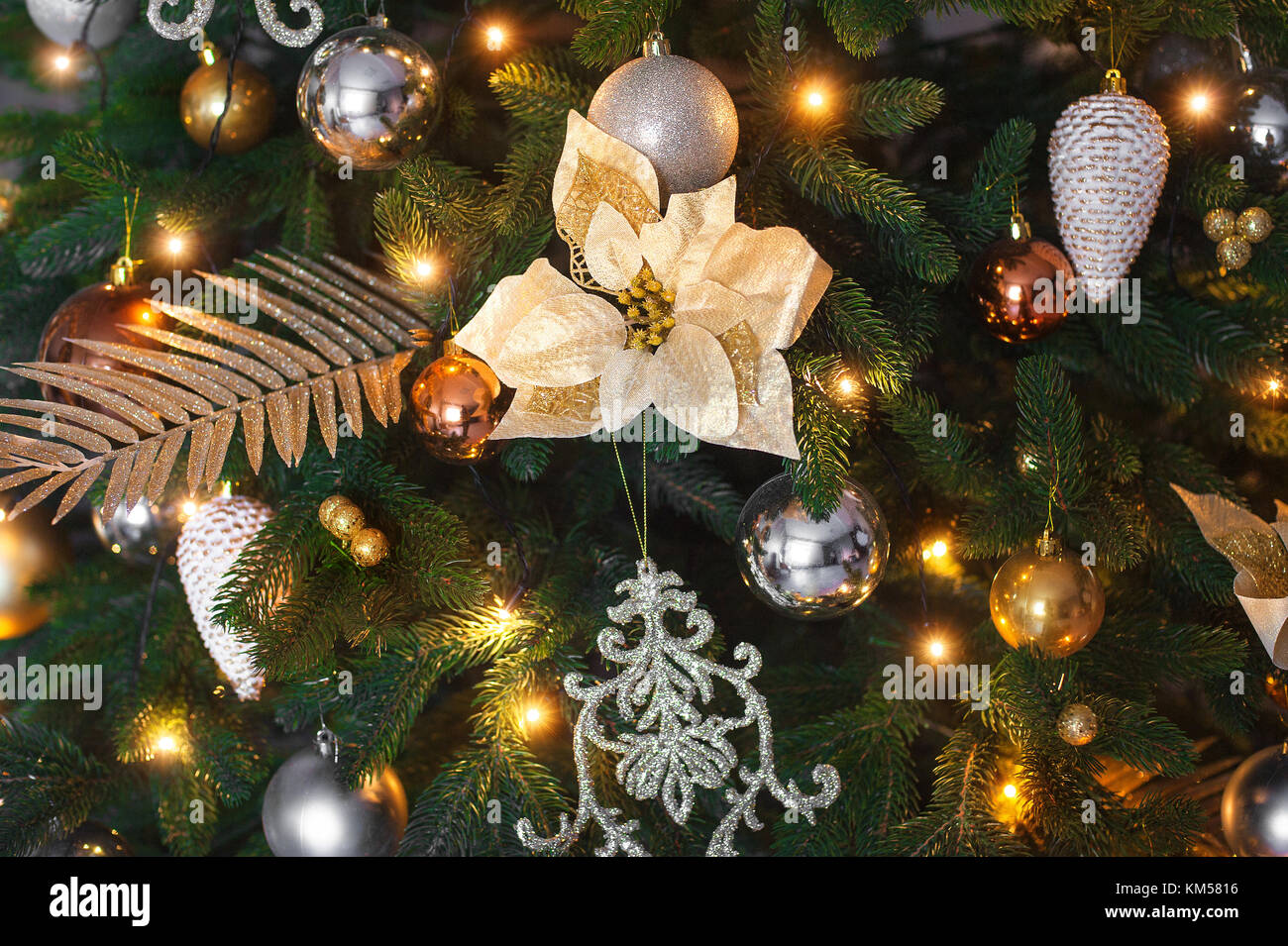 Beautiful Holdiay Decorated Christmas Tree Closeup With Copy Space Winter Holiday Design And Decorations Background
