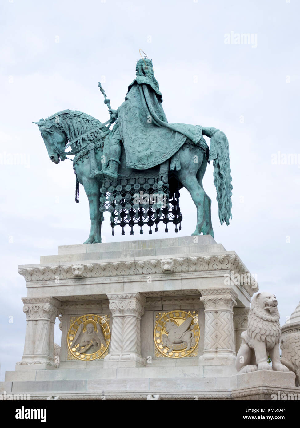 Statue of Stephen I of Hungary, Fisherman's bastion, Budapest Stock Photo