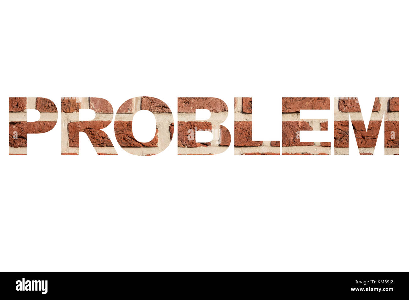 Word 'Problem' with texture of red brick wall. - Stock Image