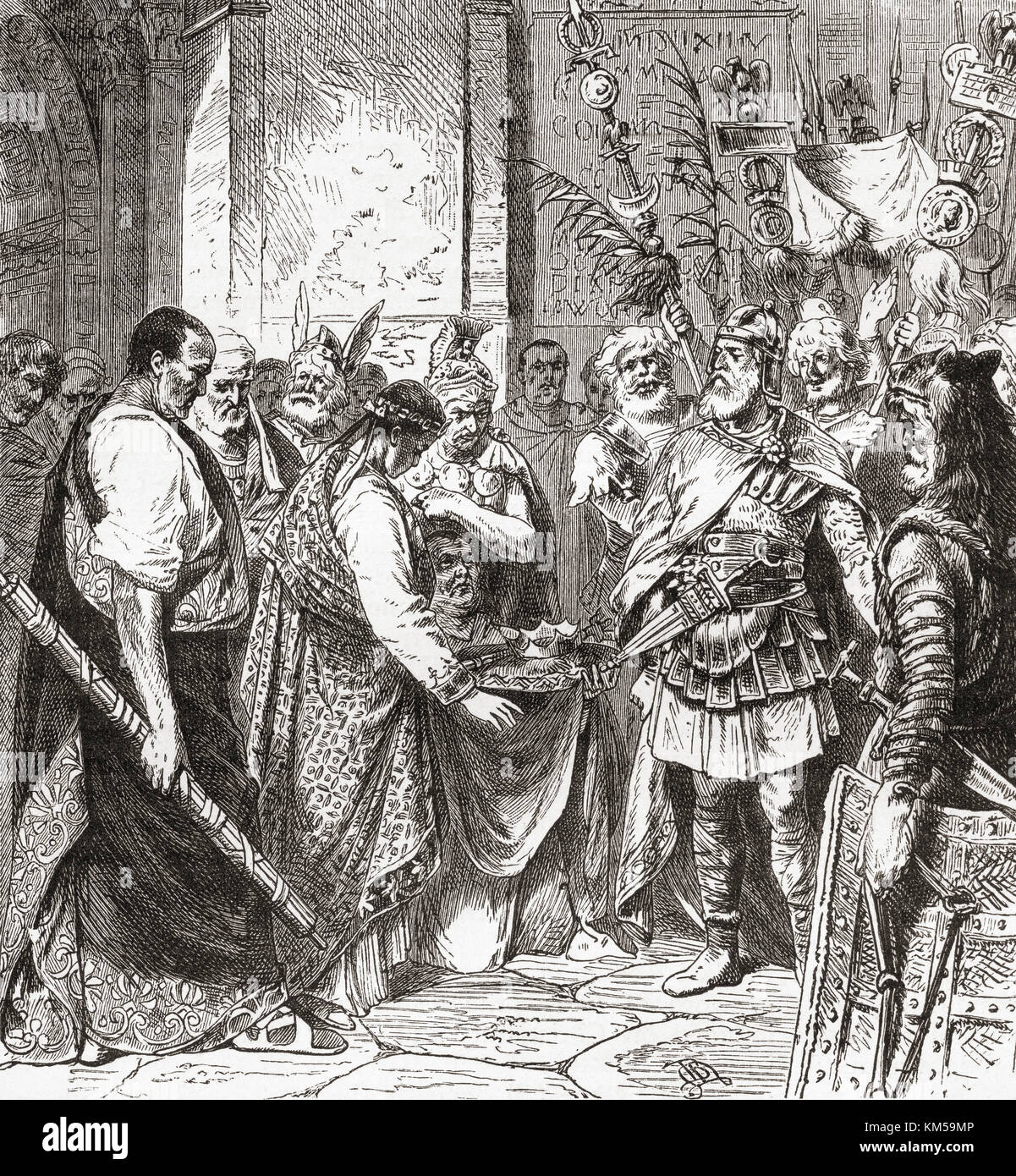 Flavius Odoacer forces Romulus Augustus to resign the Crown, 476 AD.  Flavius Odoacer, c. 433– 493 AD, aka Flavius - Stock Image