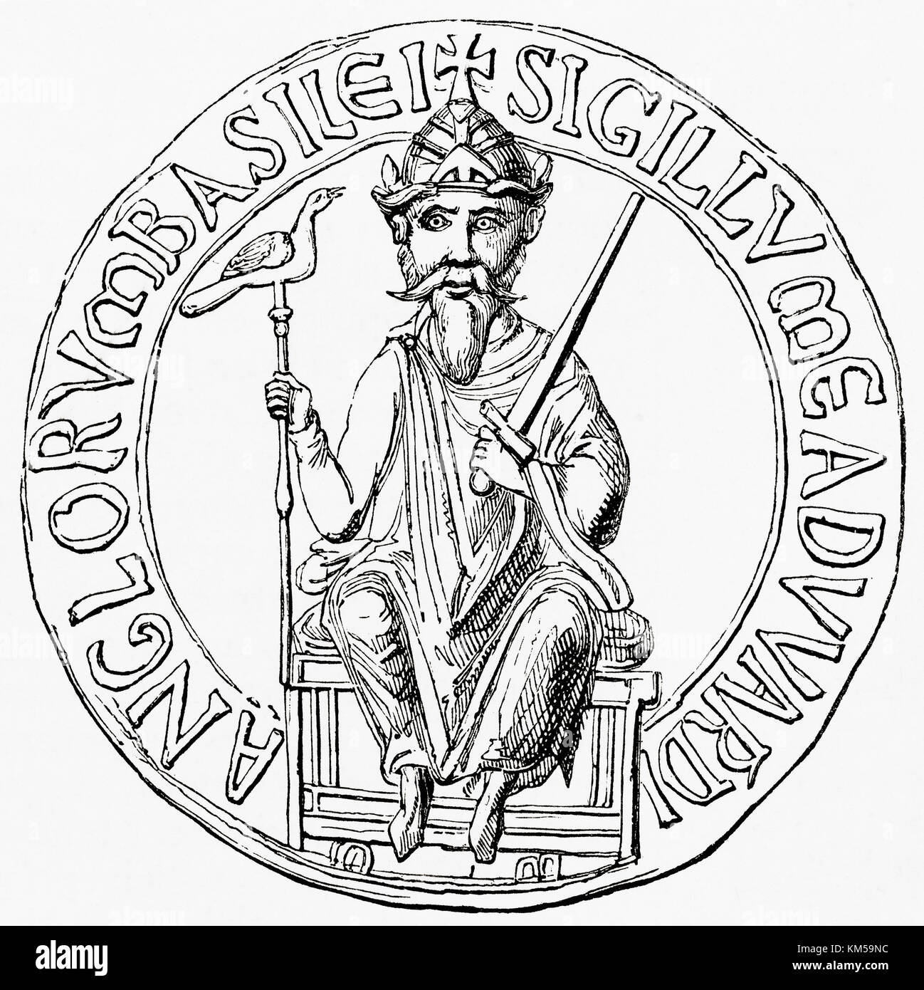 Great seal of Edward the Confessor.  His great seal was a casting in wax of his own visage to signify that a document - Stock Image