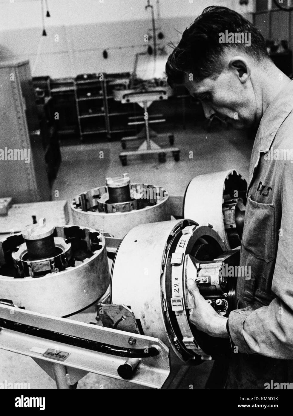Maintenance and overhaul at Arlanda airport 1967 08 23 Hydralverkstad, the hydralic work shop for Caravelle (3) Stock Photo