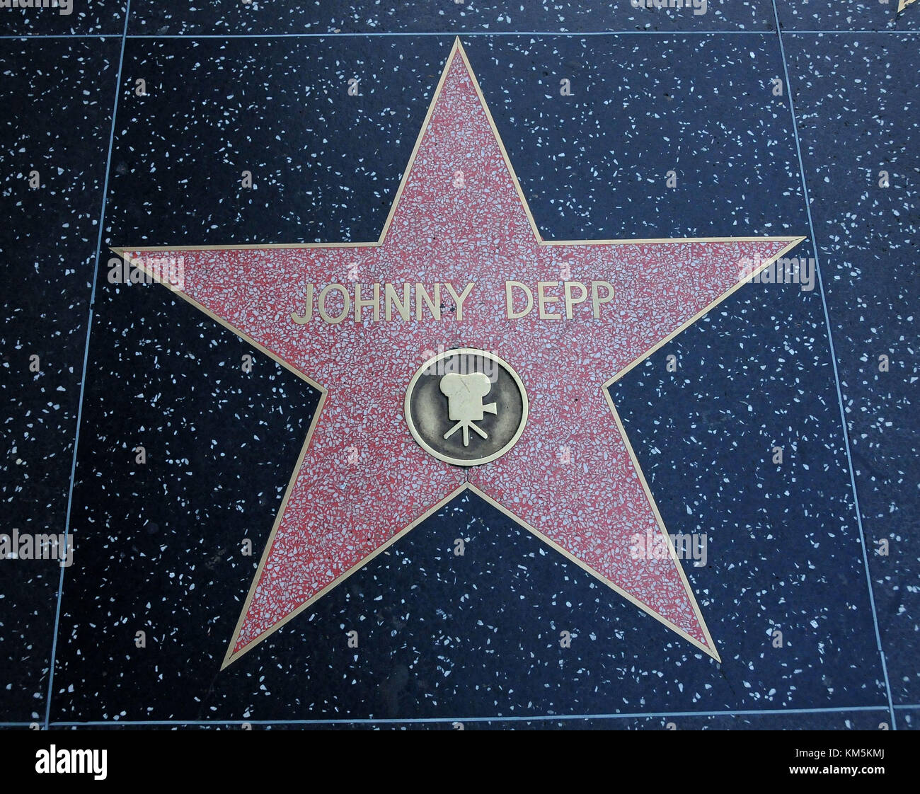 HOLLYWOOD, CA - DECEMBER 4: A general view of atmosphere of Johnny Depp Star on the Hollywood Walk Of Fame on Hollywood - Stock Image