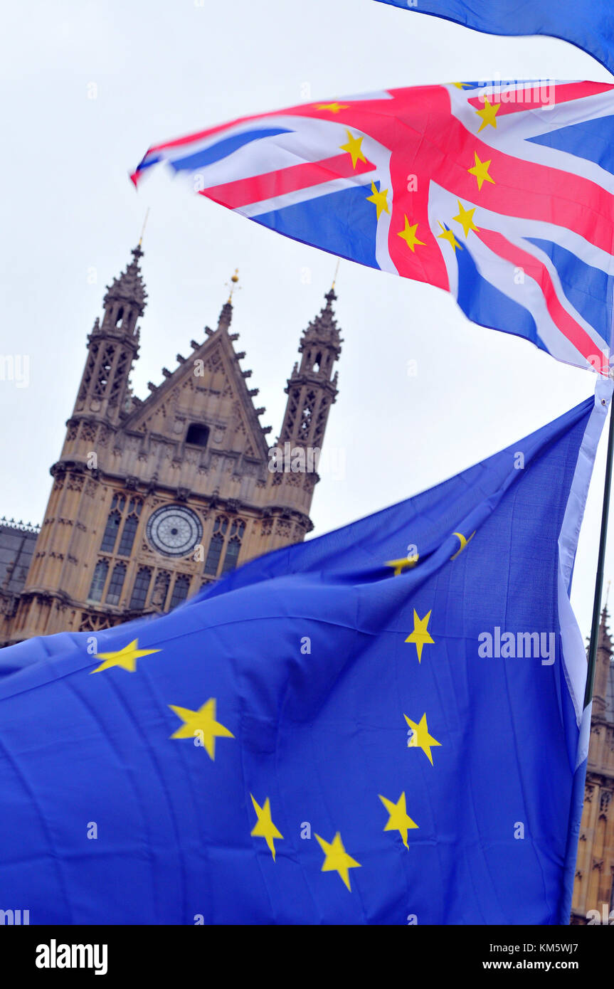 London, UK. 5th Dec, 2017. The flags of pro-European protesters at Westminster with the houses of parliament as - Stock Image