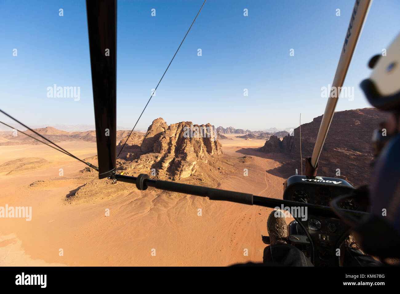Flying over the Wadi Rum, Jordan - Stock Image