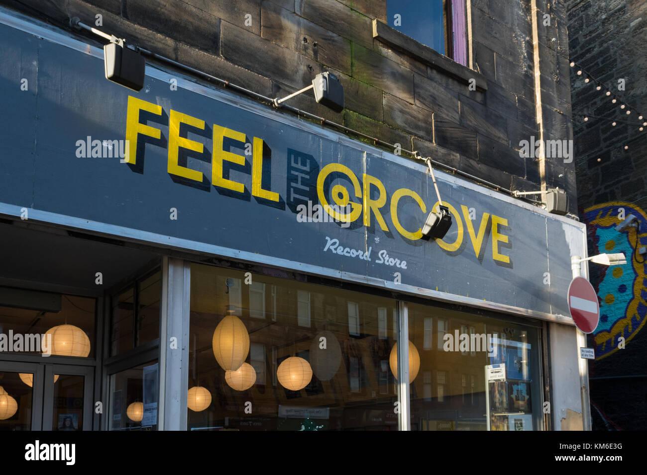 Feel the Groove vinyl record store (previously Apollo Music) Paisley, Scotland, UK - Stock Image