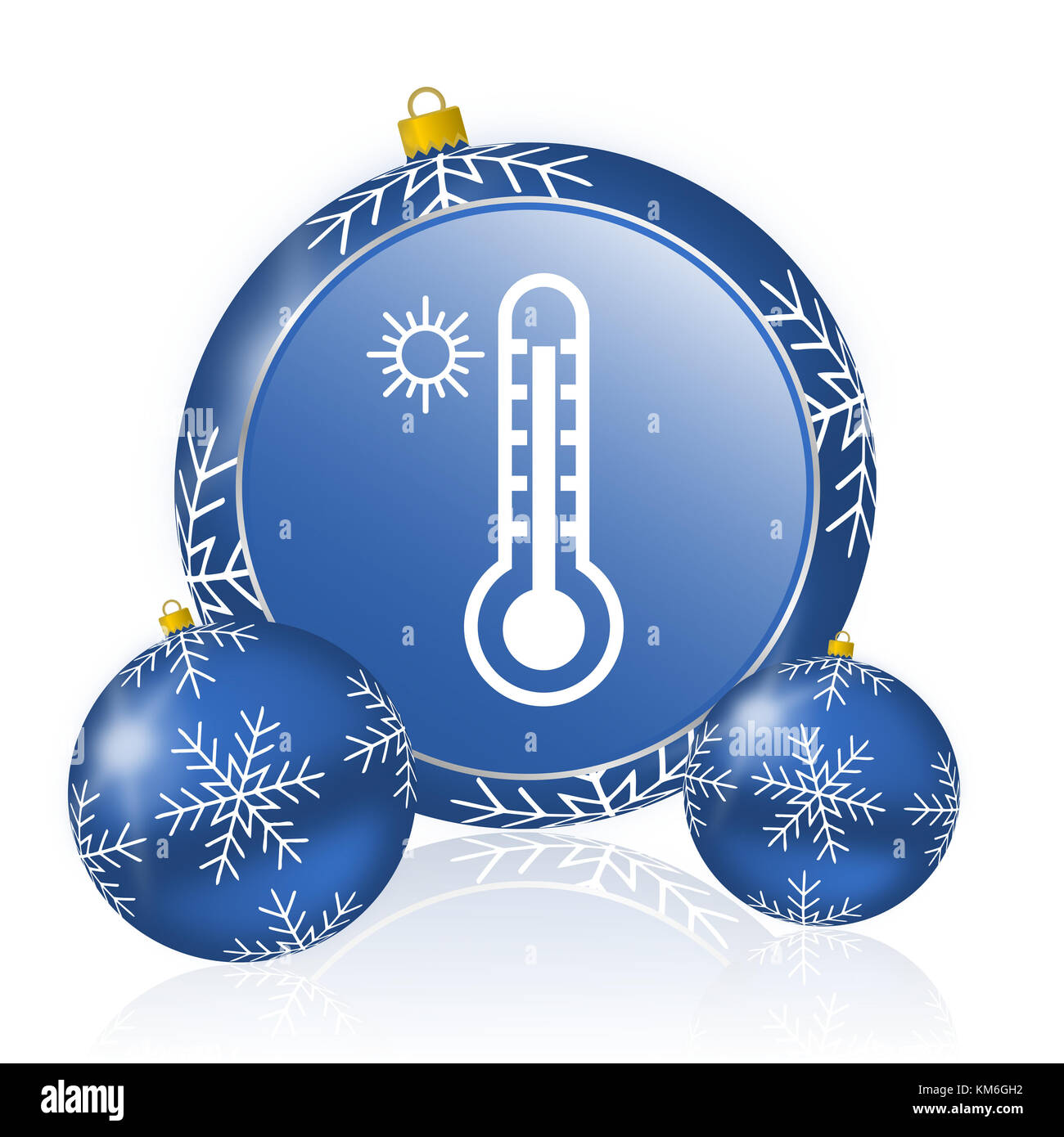 Hot temperature blue christmas balls icon - Stock Image