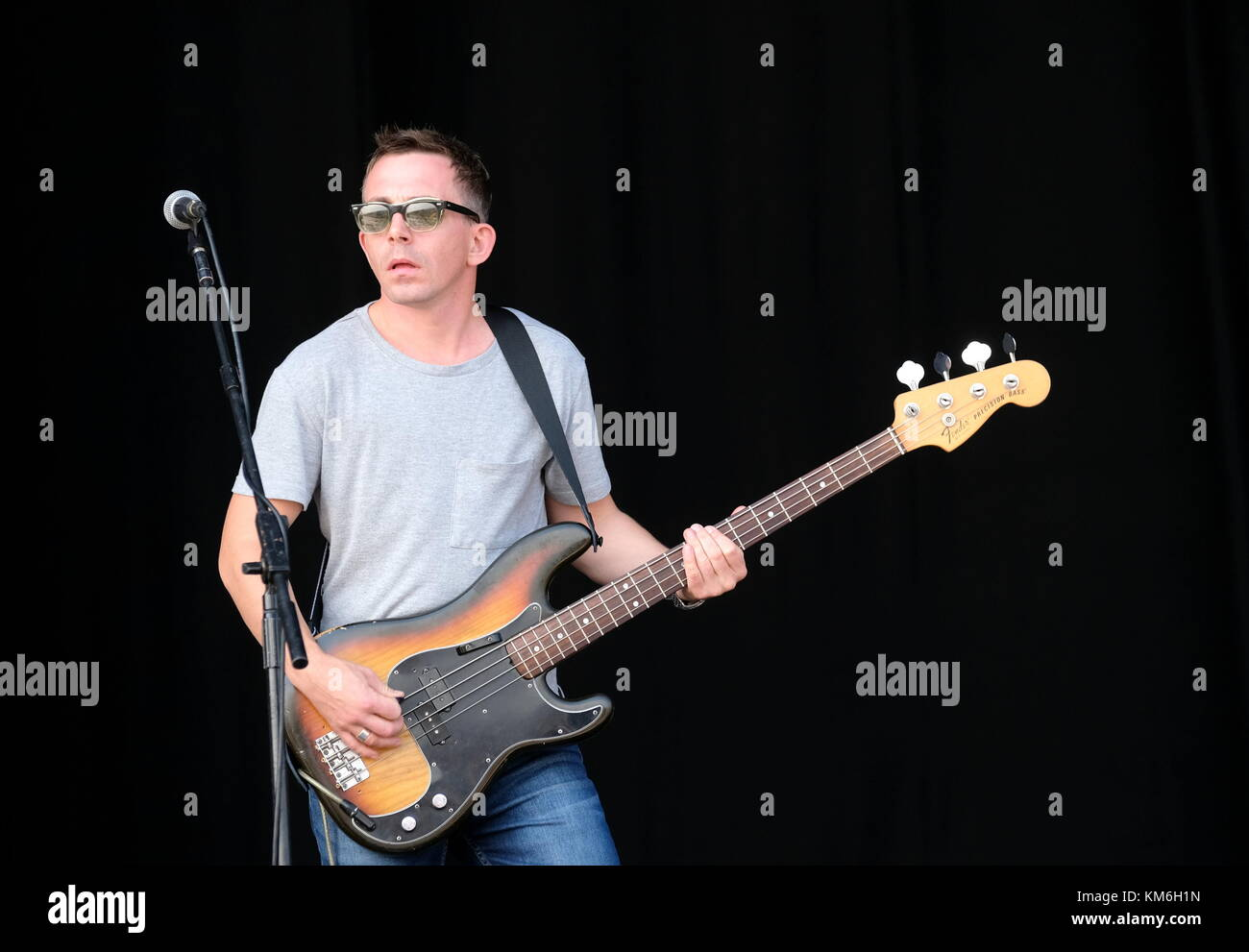 Bass guitarist with Echobelly performing at Victorious Festival UK 2017 Stock Photo