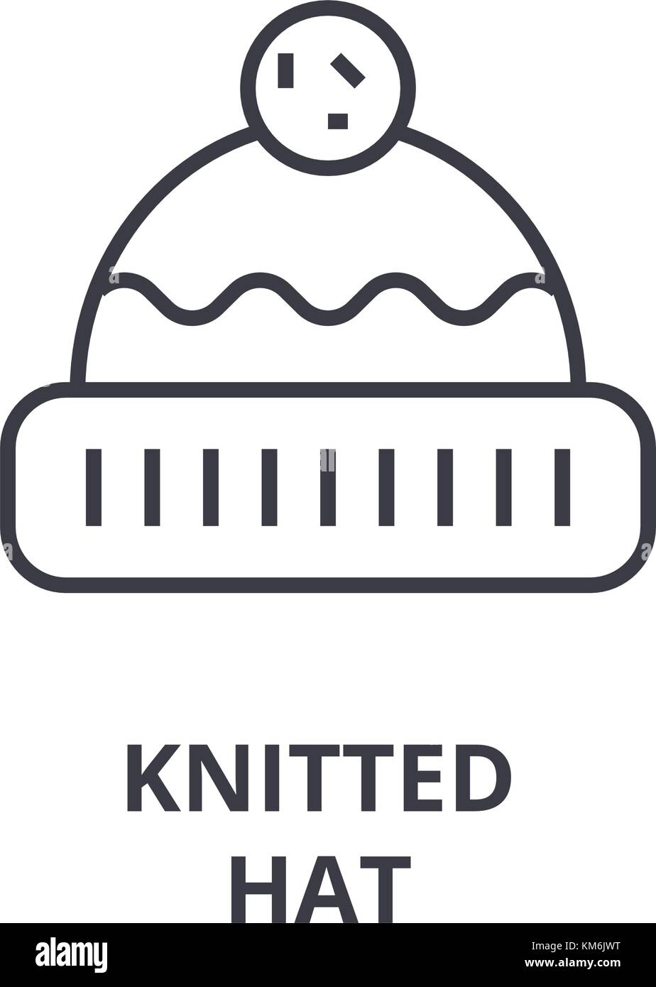 knitted hat line icon, outline sign, linear symbol, vector, flat illustration - Stock Vector
