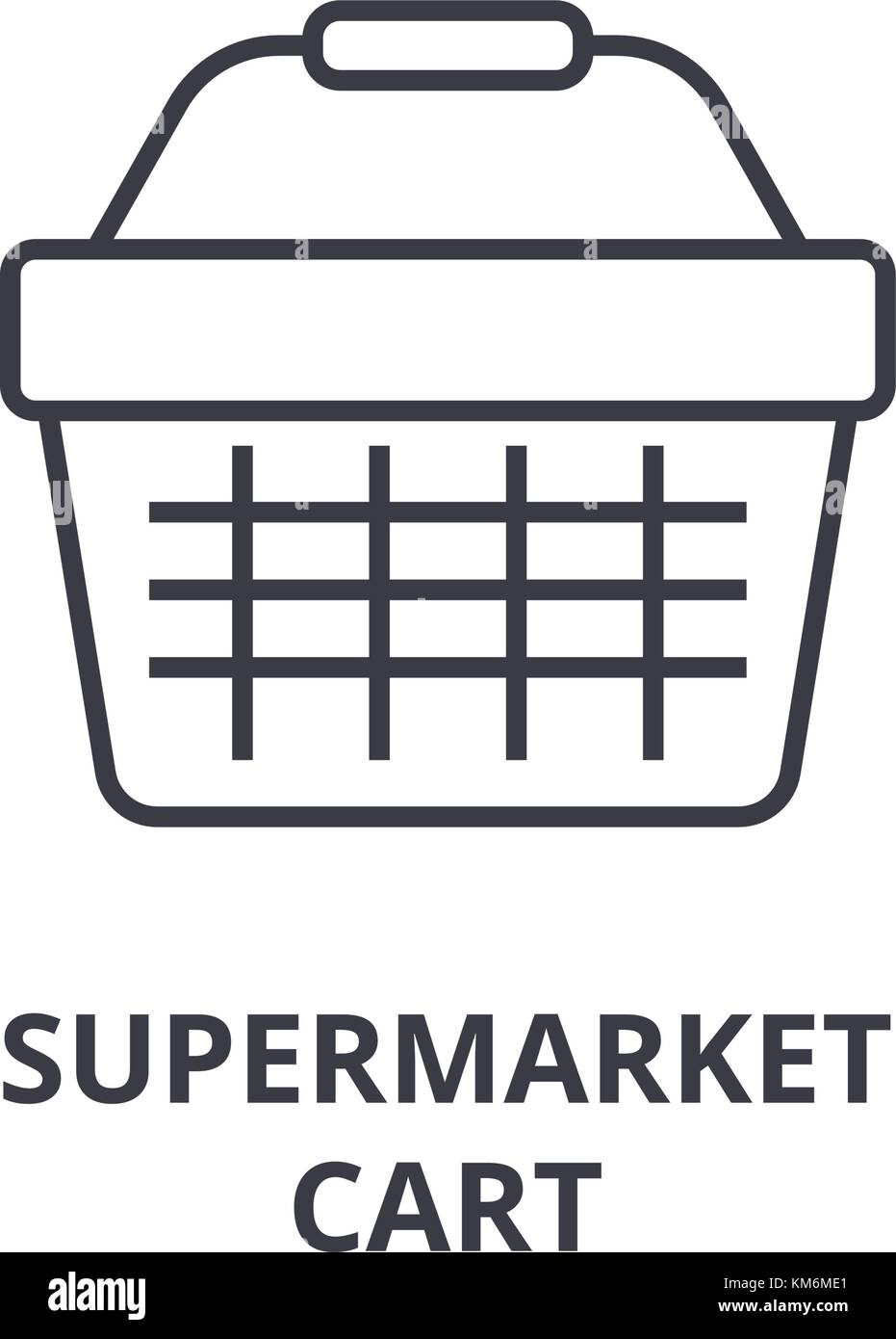 supermarket cart line icon, outline sign, linear symbol, vector, flat illustration - Stock Vector