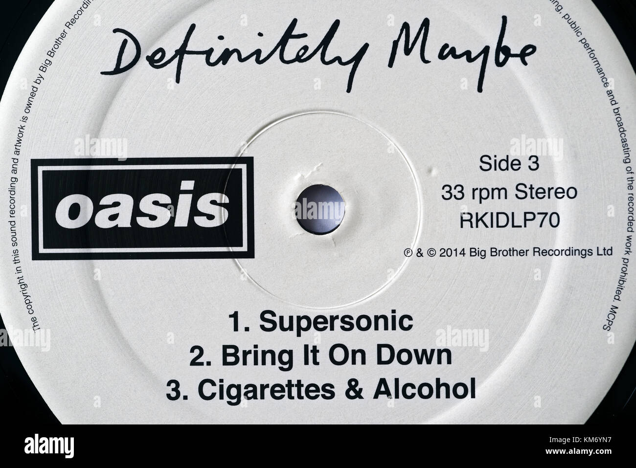 Oasis album Definitely Maybe label detail - Stock Image