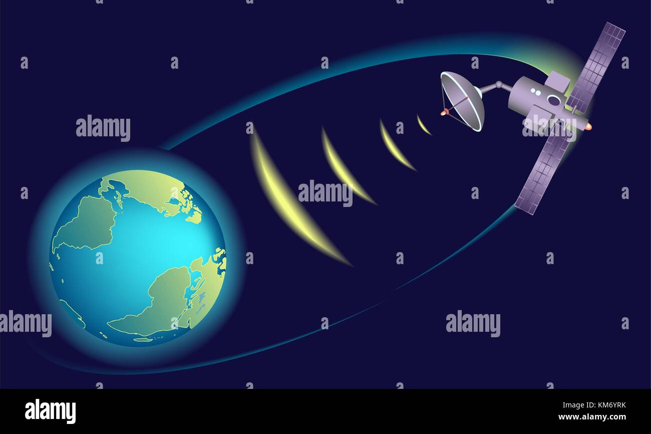 Satellite orbiting Earth,  relaying communications. - Stock Image