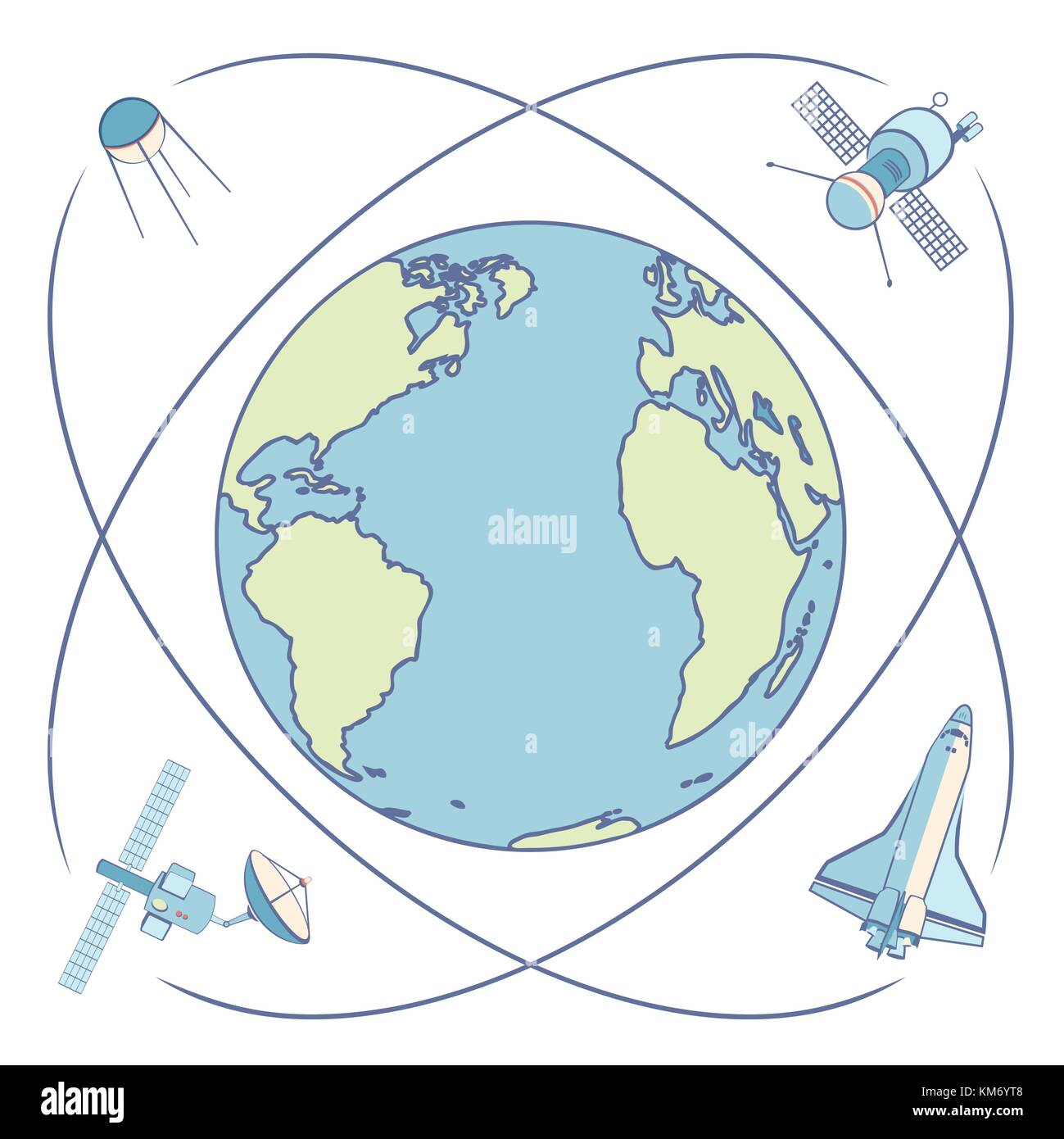 Earth in space. Satellites and spacecrafts orbiting Earth. - Stock Image