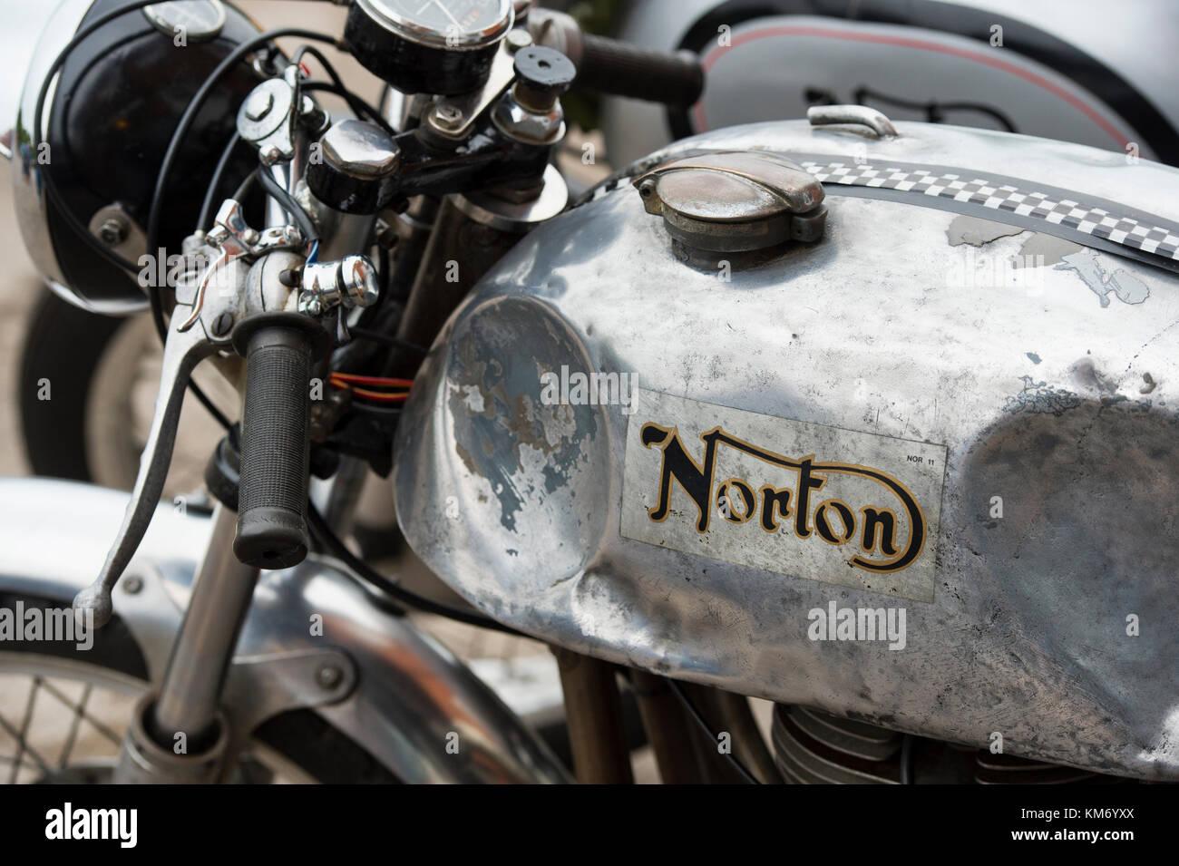 Old Norton Commando Cafe Racer Motorcycle Classic British Motorcycle Stock Photo Alamy
