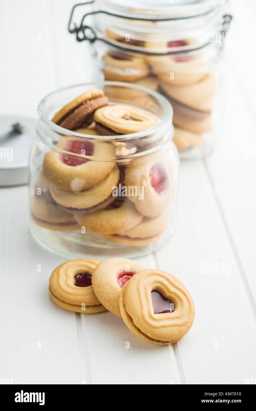 Sweet jelly cookies on white table. - Stock Image