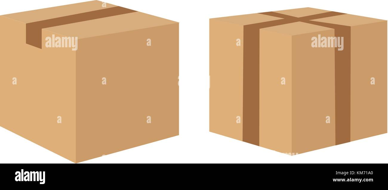 Cardboard delivery boxes collection isolated on white background. - Stock Vector