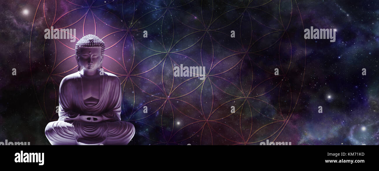 Cosmic Buddha in lotus position meditating on the Flower of Life symbol with a magenta head glow against a starry Stock Photo