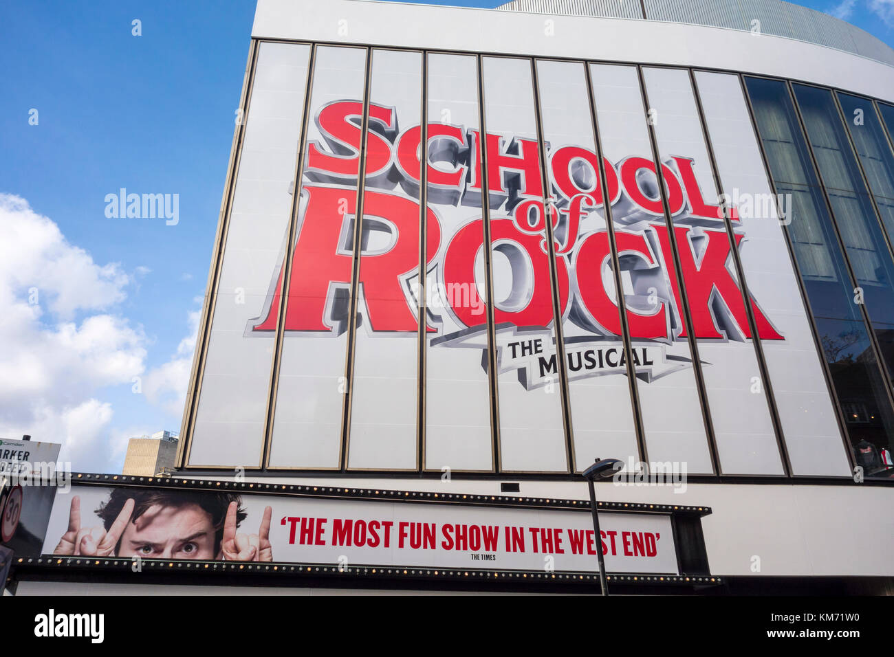 Exterior sign for School of Rock the Musical, by Julian Fellowes and Andrew Lloyd Webber. New London Theatre, Drury - Stock Image