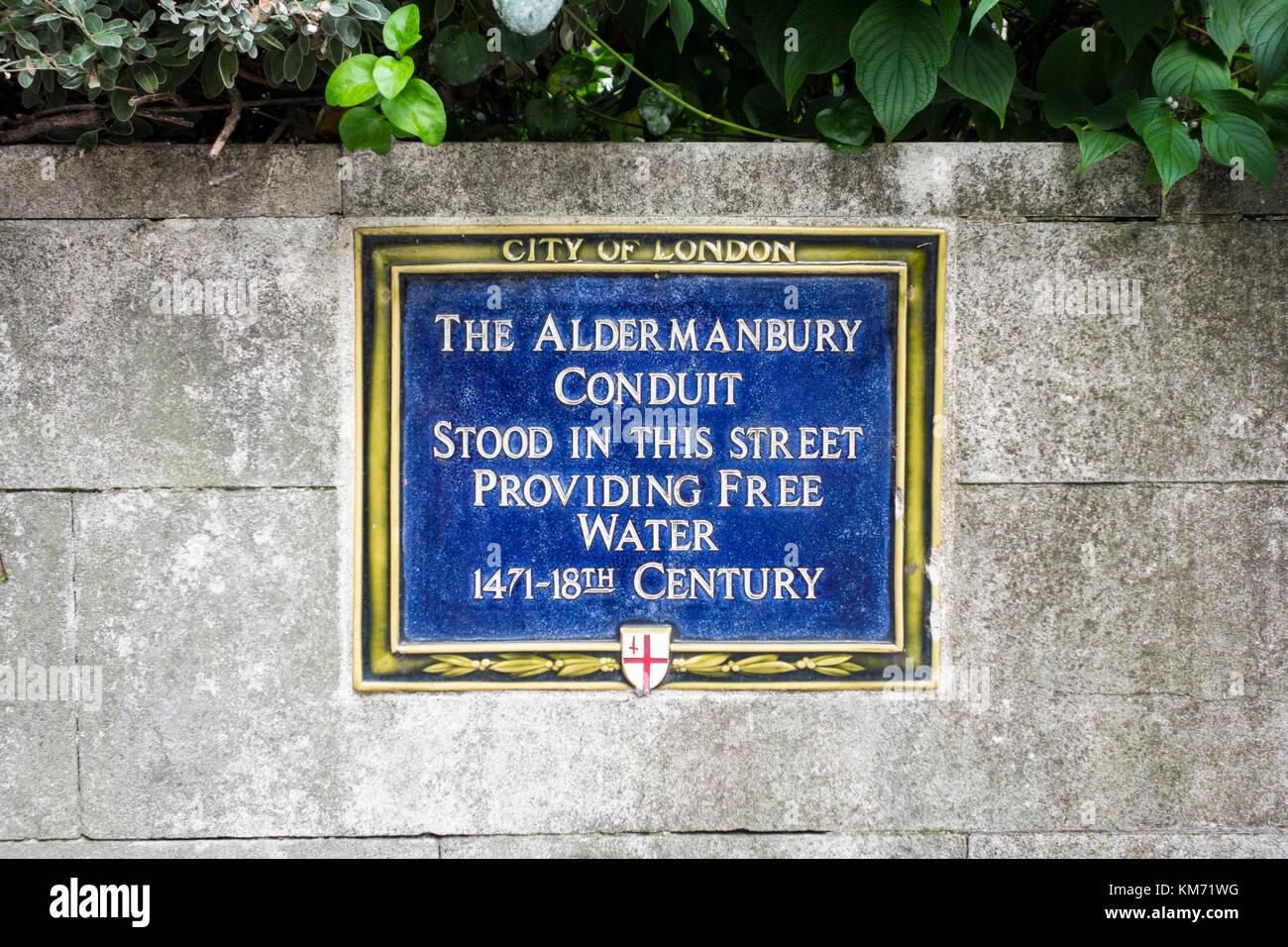 Blue plaque, The Aldermanbury Conduit site, City of London, UK - Stock Image