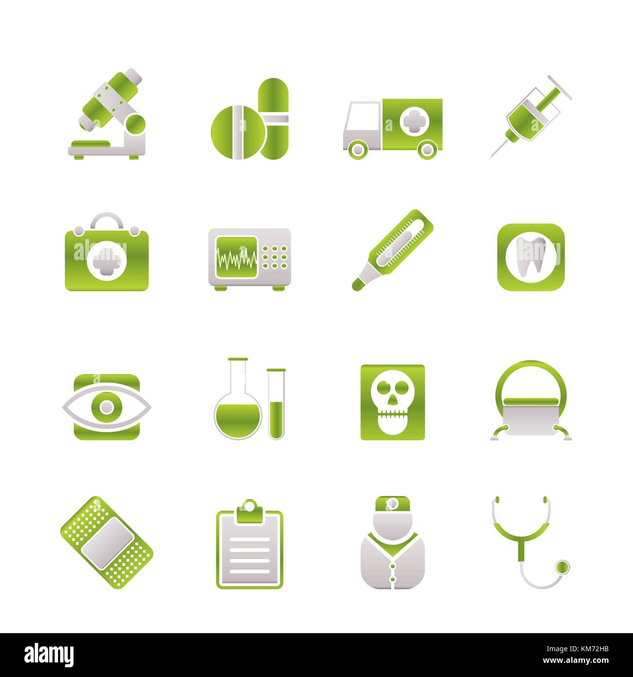 medical, hospital and health care icons - vector icon set Stock Vector