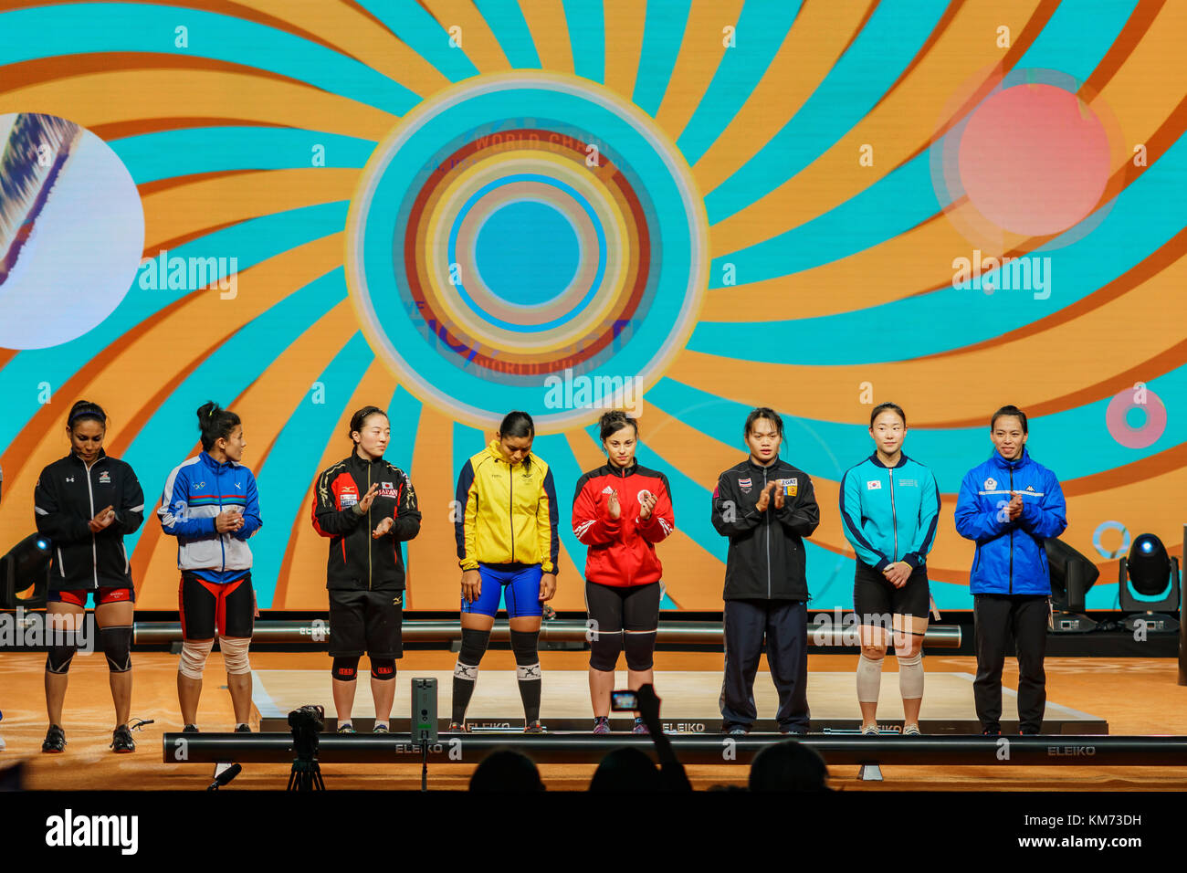Anaheim, NOV 30: 2017 Athletes of International Weightlifting Federation World Championships on NOV 30, 2017 at - Stock Image