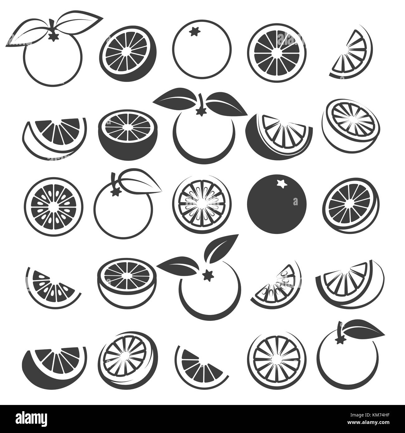 Orange icons. Tasty fresh vector black oranges fruits isolated on white background, citrus wedge, half and slices - Stock Image