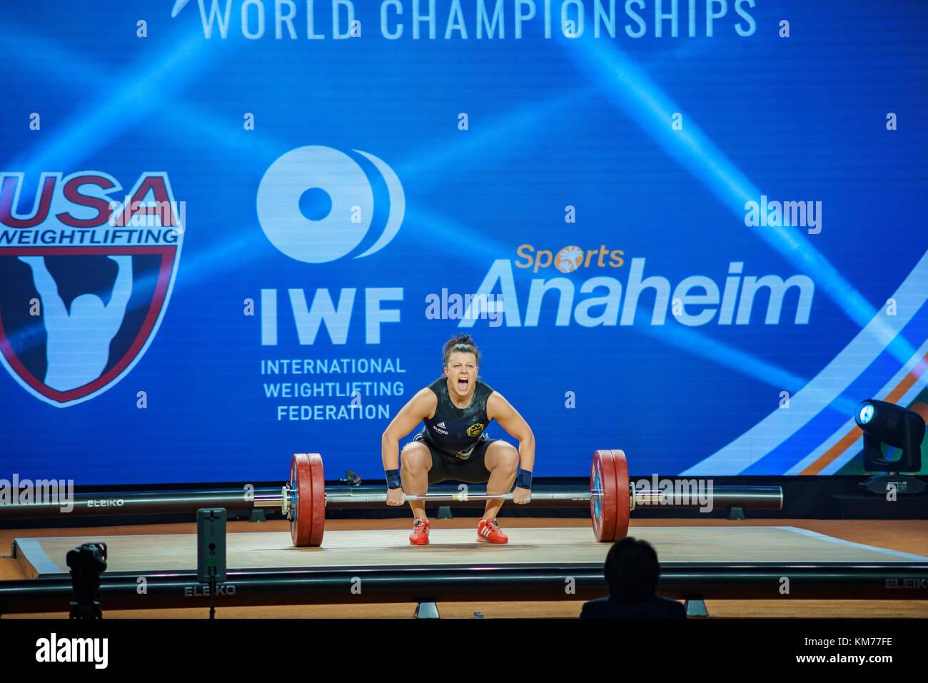 Anaheim, NOV 30: 2017 Strenius Patricia Caroline in International Weightlifting Federation World Championships on - Stock Image