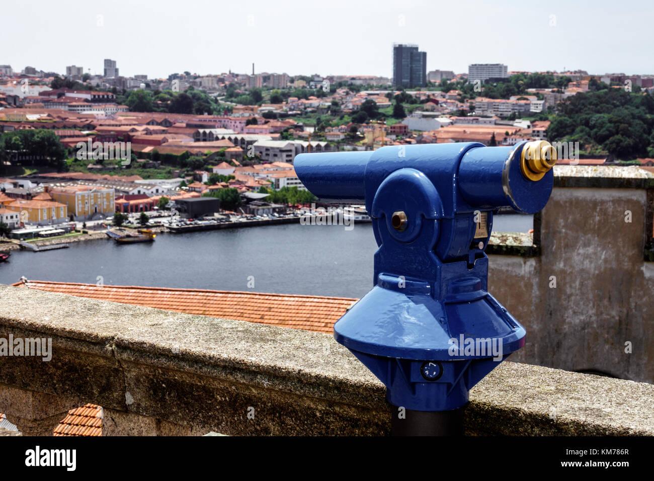 Porto Portugal Douro River Barrio La Ribeira historic center water viewpoint coin operated binocular scenic telescope - Stock Image