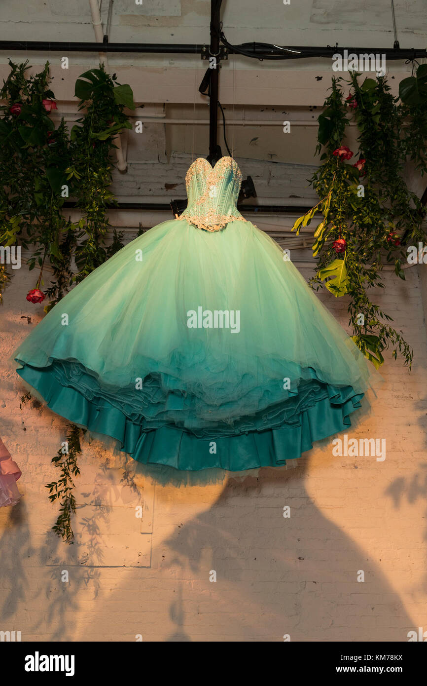 b0fa1845a Quinceanera dress by Mitzy on display at HBO screening and presentation of  15  A QUINCEANERA STORY at The Garage Credit  Lev Radin Pacific Press Alamy  Live ...