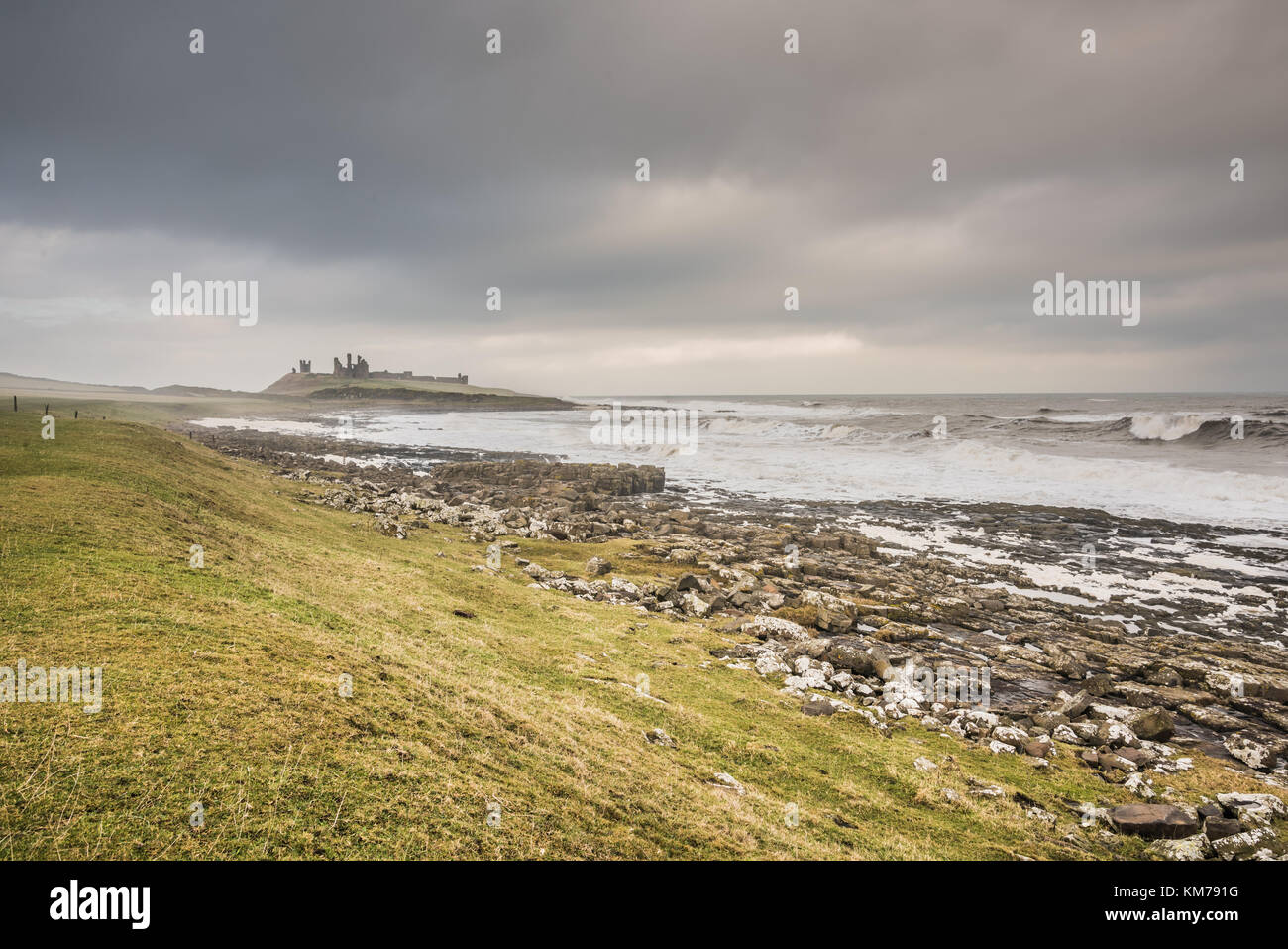 Castle on Shore - Stock Image