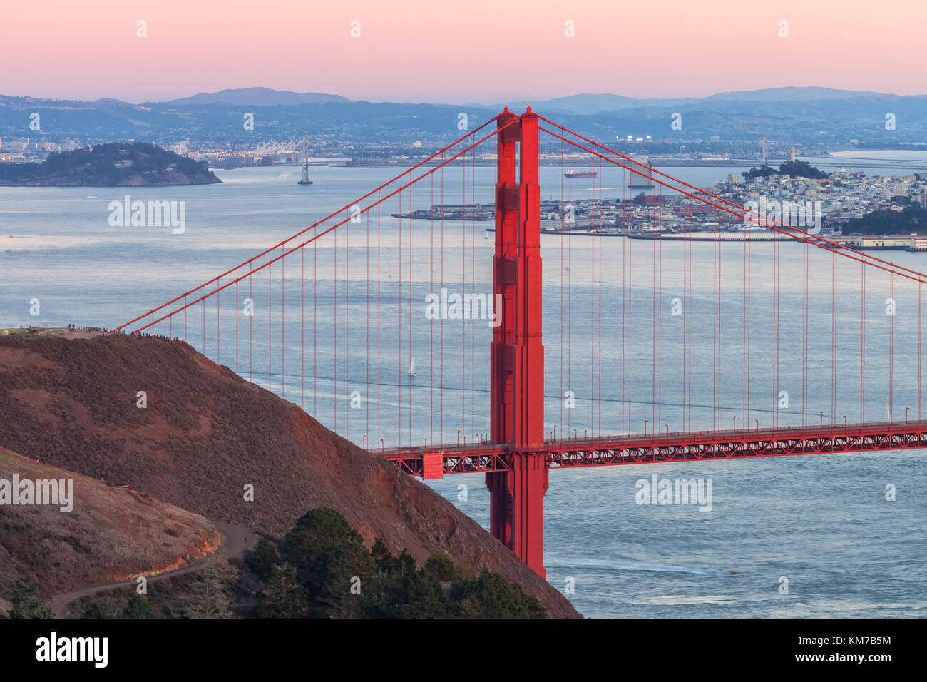 Nightfall over the Golden Gate Bridge and The San Francisco Bay, California, United States. - Stock Image