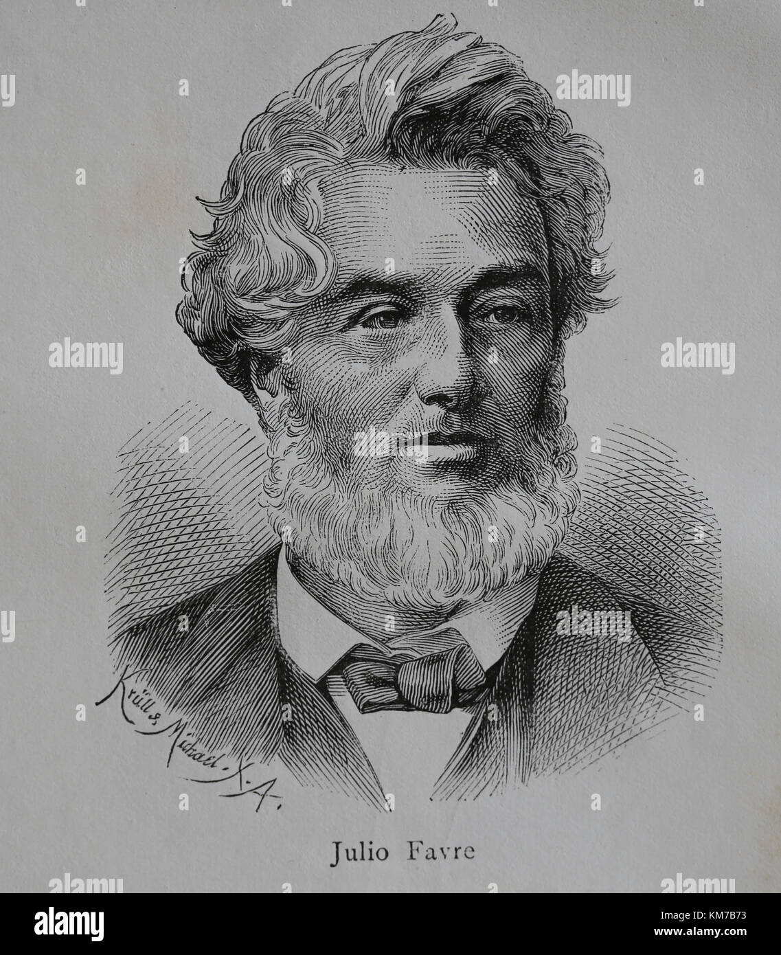 Jules Favre (1809-1880). French statesman. Leaders of the Moderate Republicans. Portrait. Engraving, 1883. - Stock Image