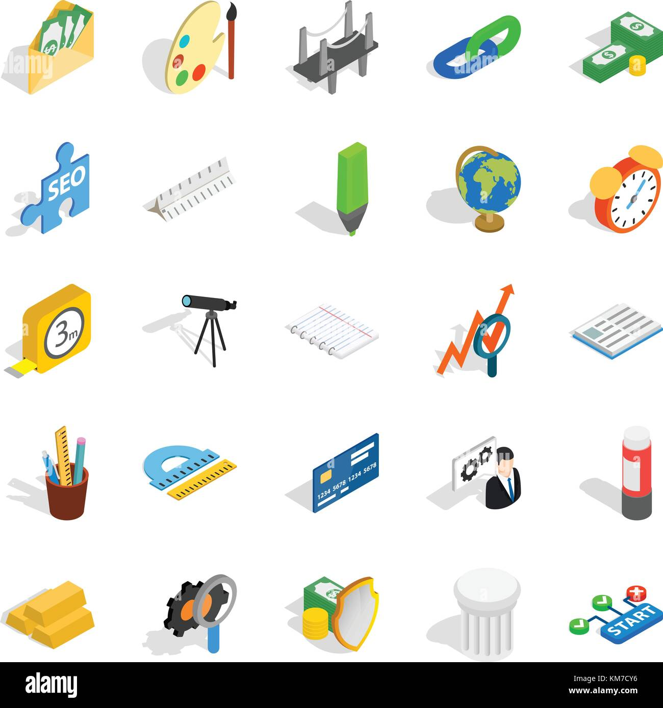 Compute icons set, isometric style Stock Vector