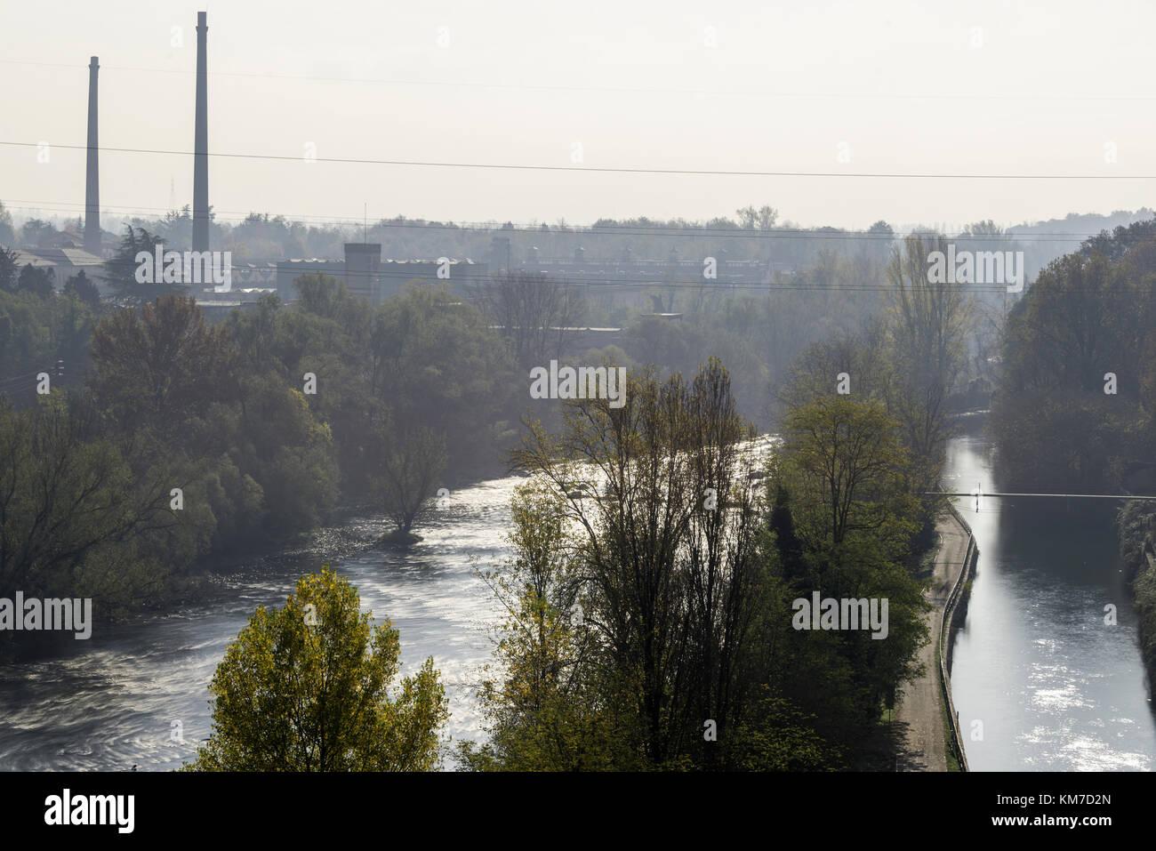 views of River Adda in Trezzo area Stock Photo