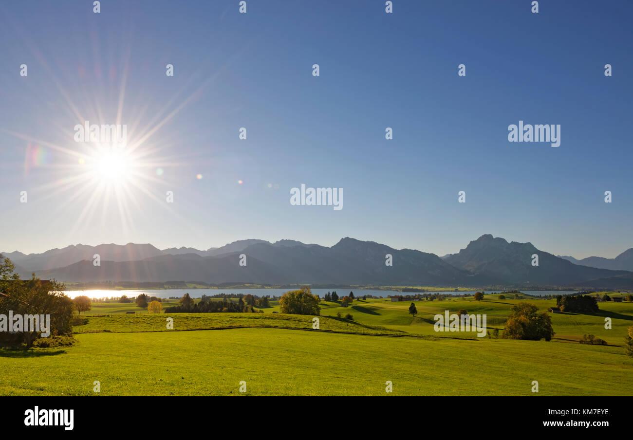 Forggensee, OstallgŠu, AllgŠu, Schwaben, Bayern, Deutschland Stock Photo