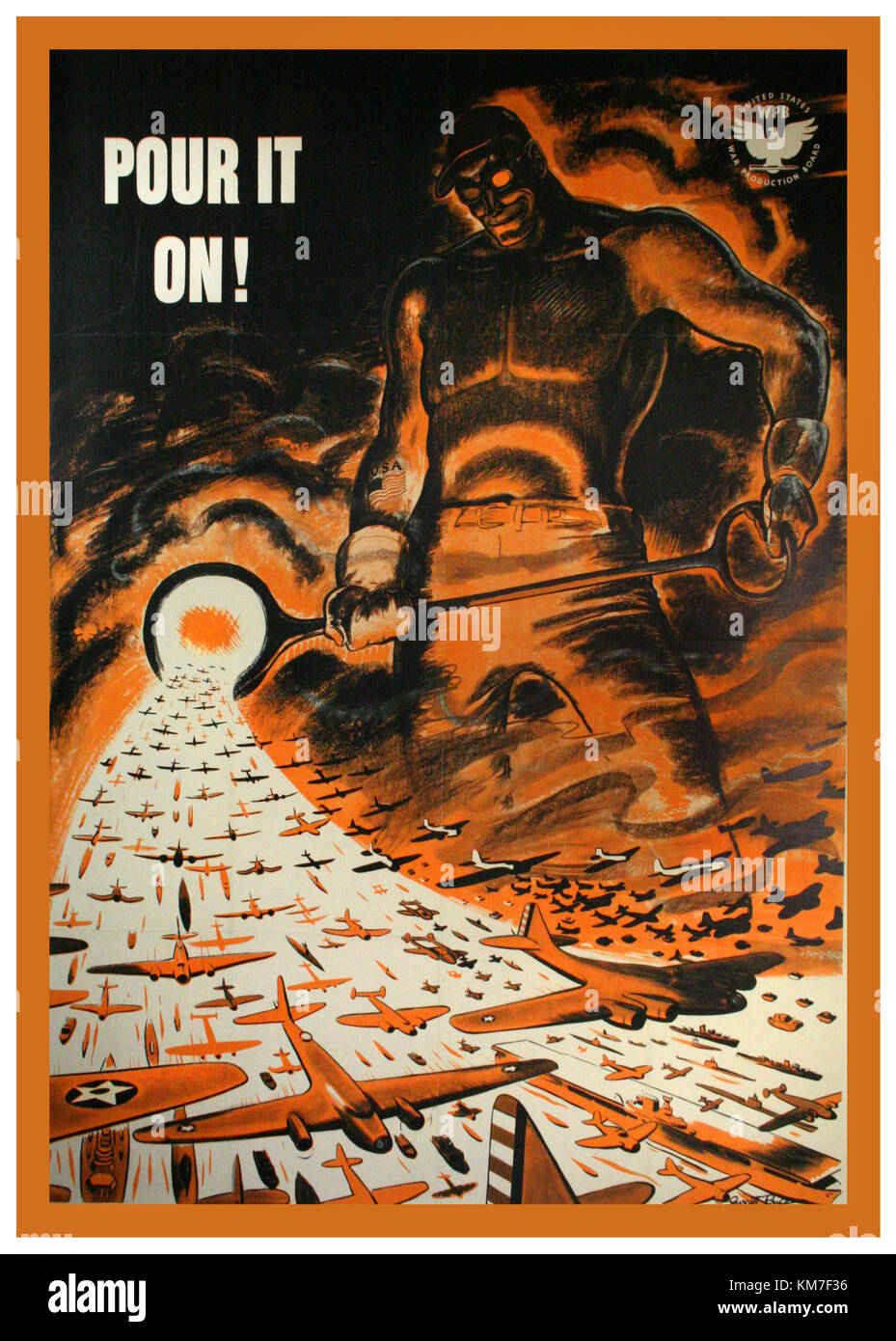 1940's WW2 Vintage American propaganda poster 'POUR IT ON' ! 1942. Original WW2 Poster by Garrett Price - Stock Image