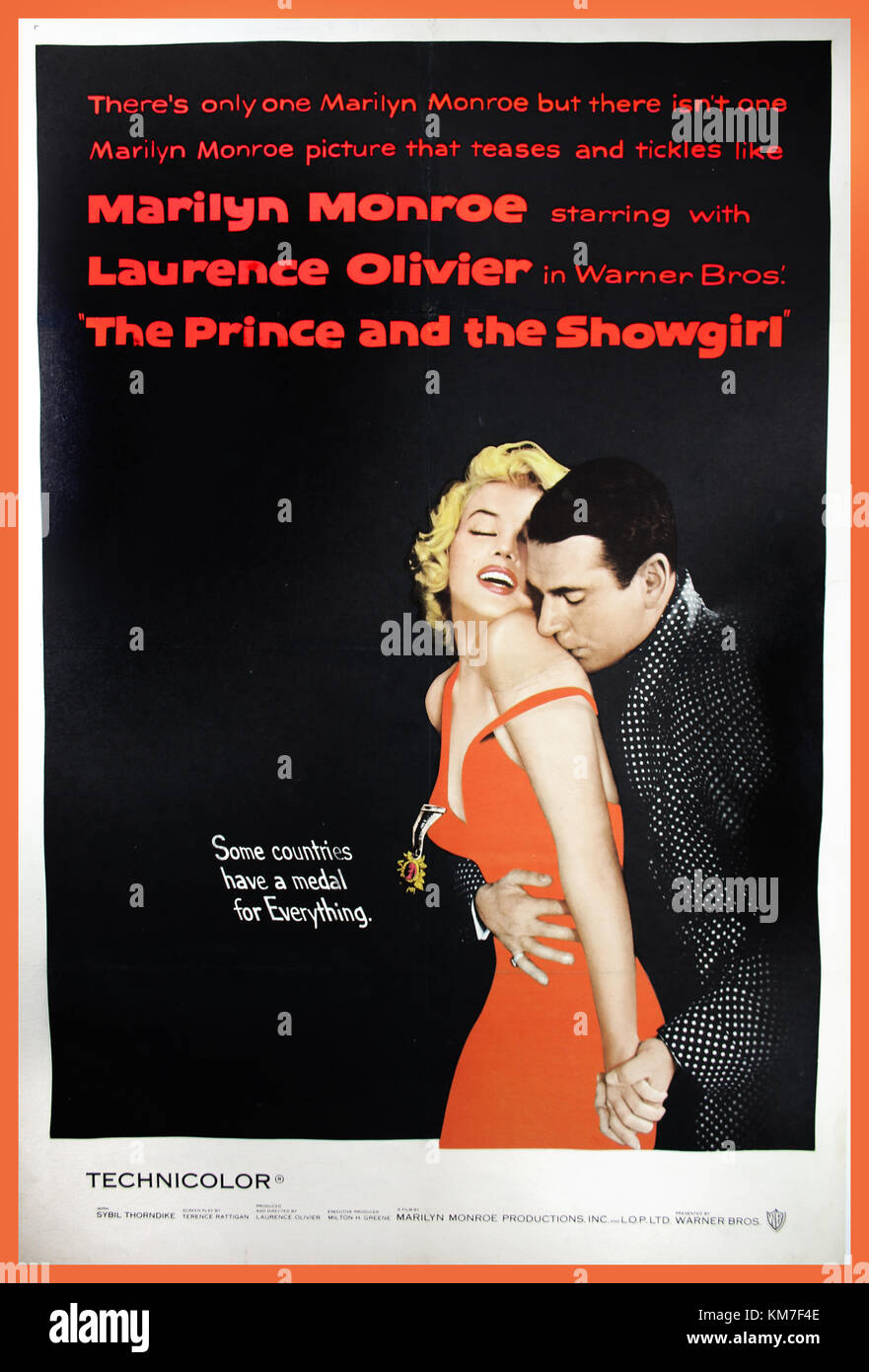 Vintage Movie Poster THE PRINCE AND THE SHOWGIRL, 1957. Movie Poster starring Marilyn Monroe and Laurence Olivier; - Stock Image