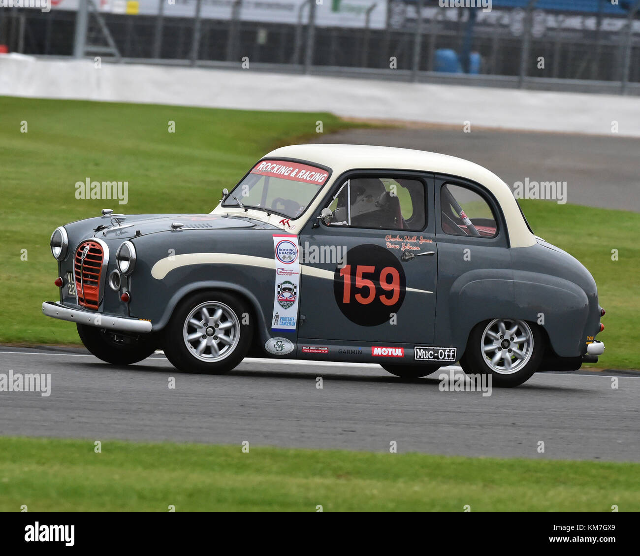 Brian Johnson, Charles Knill Jones, Austin A35 Academy, Silverstone Classic Celebrity Challenge Trophy, Silverstone - Stock Image