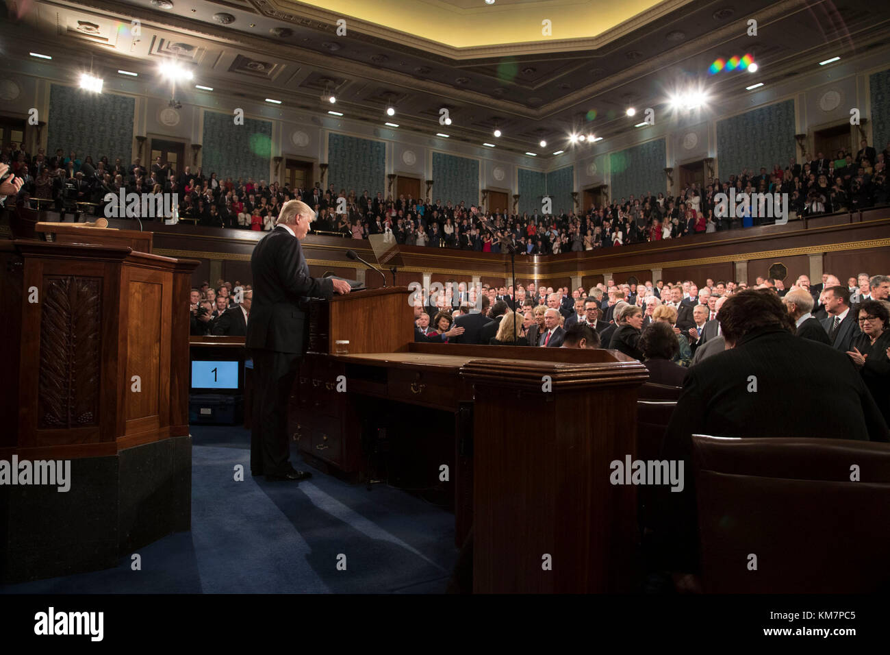 President Donald Trump delivers the Address to Congress on Tuesday, February 28, 2017, at the U.S. Capitol.  This - Stock Image