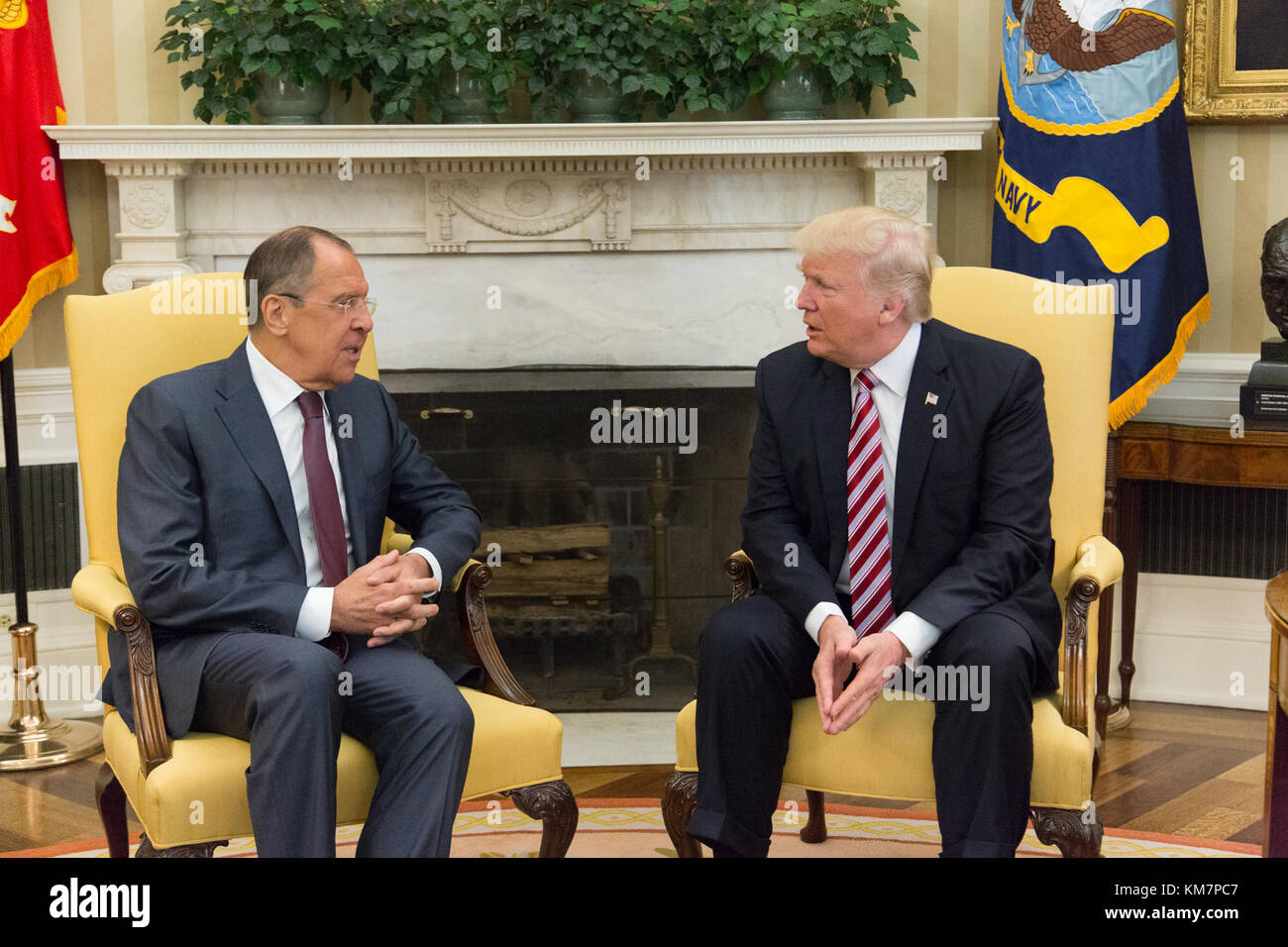 President Donald Trump and Russian Sergy Lavrov in the Oval Office . - Stock Image