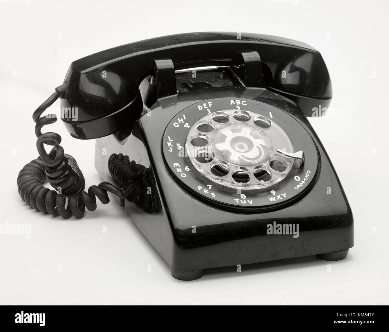 Black Rotary Telephone - Stock Image