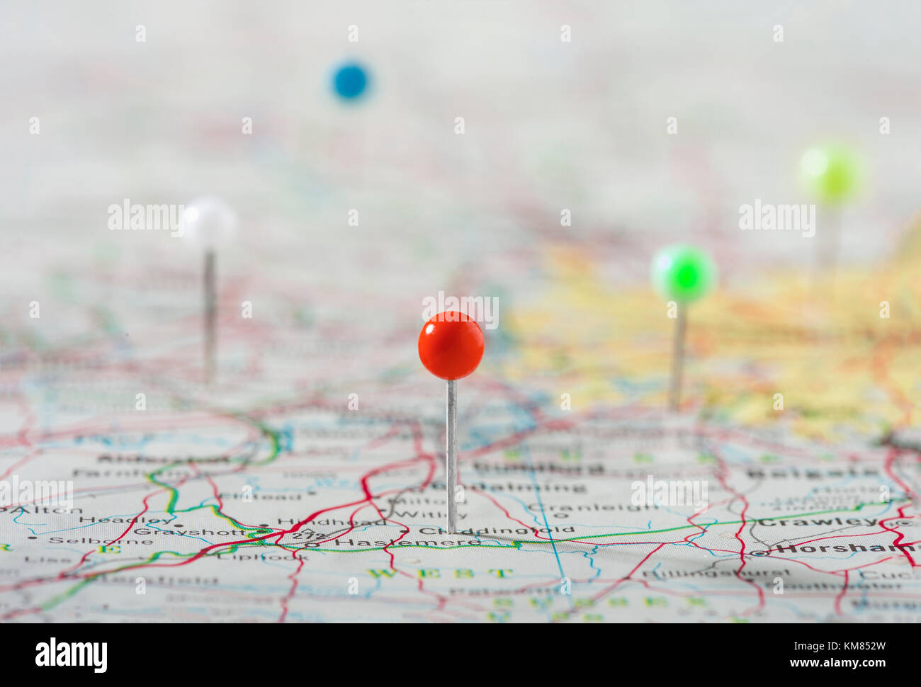 Pins On Map Marking Destinations - Stock Image