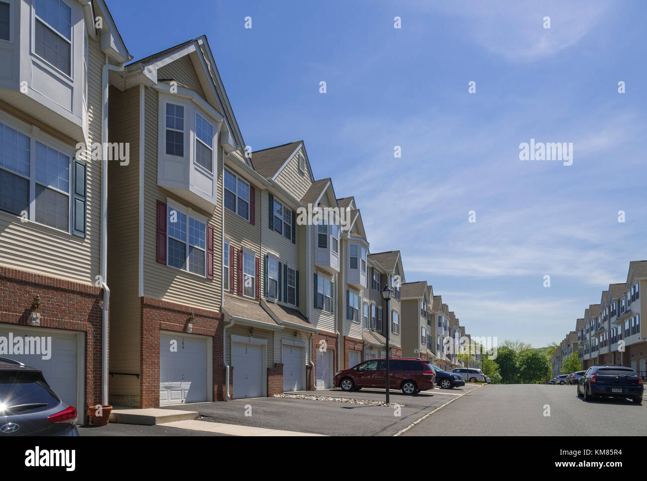 Row Of TownHomes, New Jersey USA Stock Photo