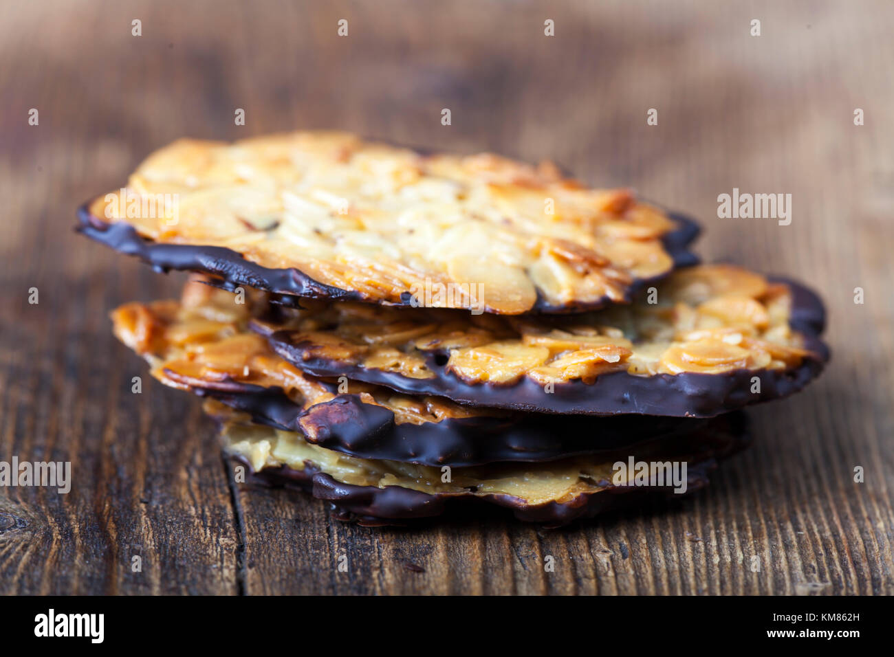 closeup of florentiner cookies on wood - Stock Image