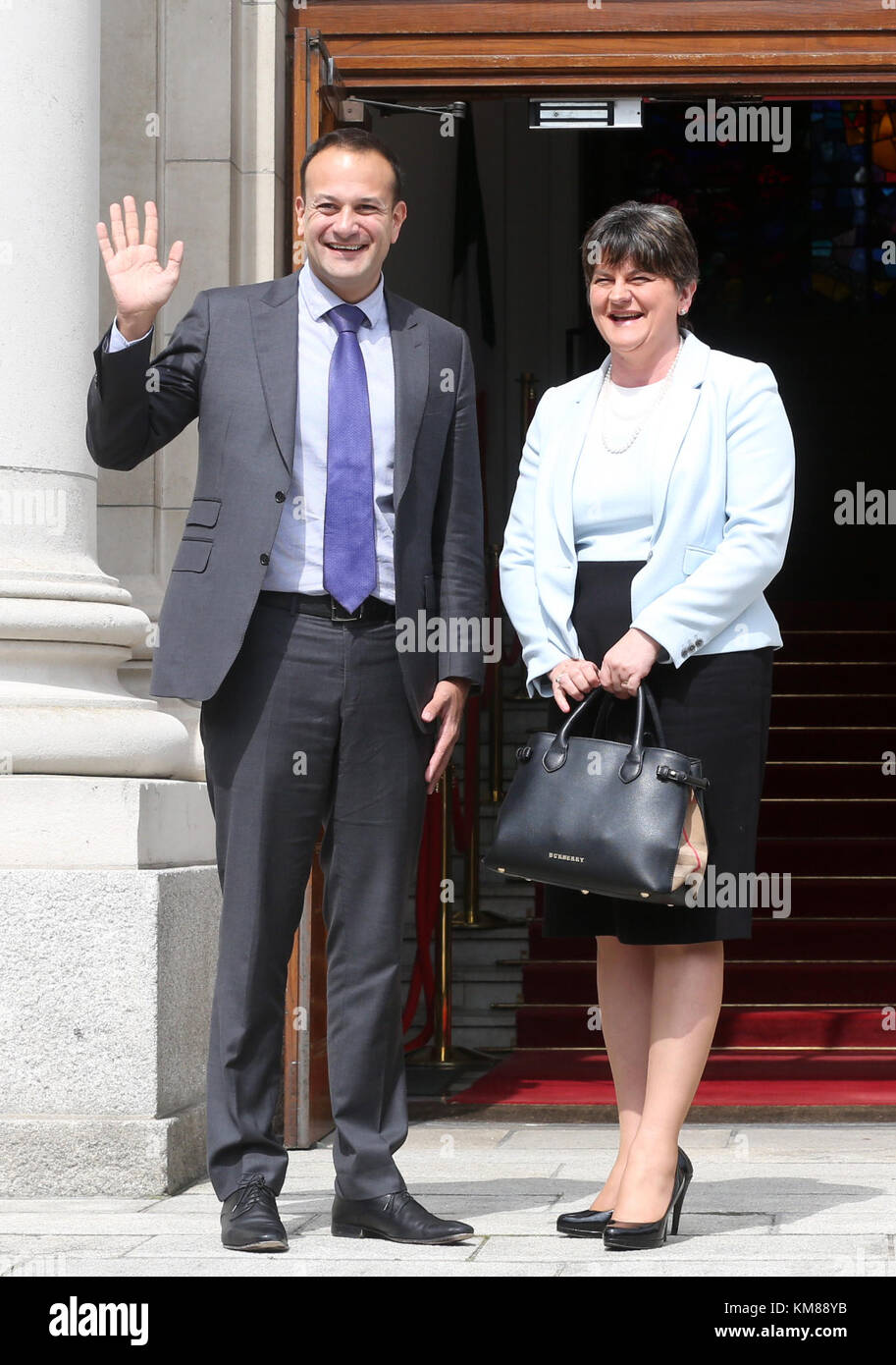 16/06/2017 Leo Varadkar and Arlene Foster. Pictured on the steps of Government Buildings in Dublin today is newly - Stock Image