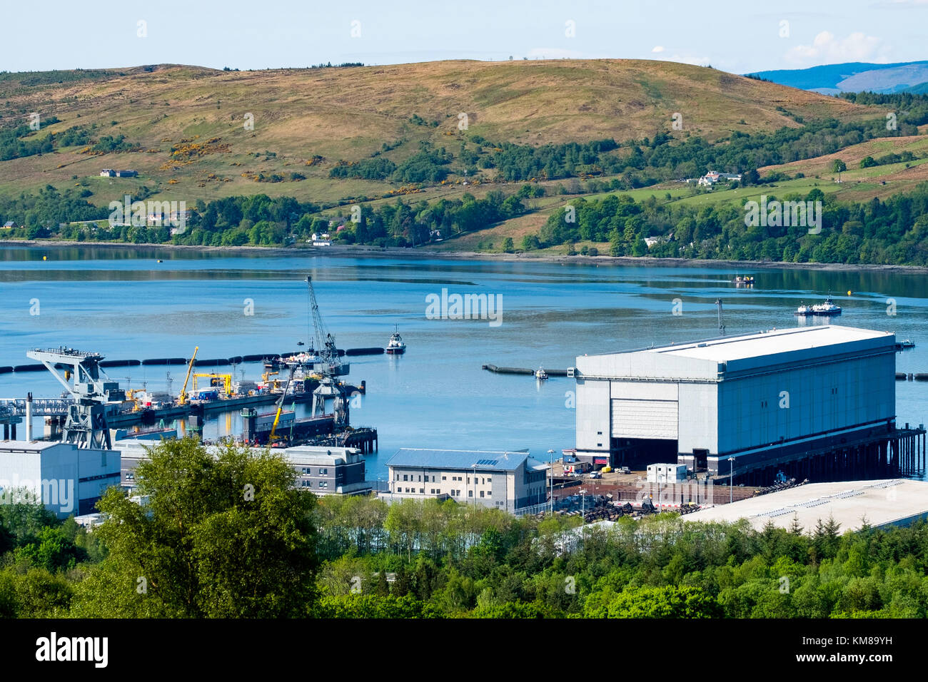 View of Faslane Nuclear Submarine Base on the Gare Loch in Argyll and Bute, Scotland, United Kingdom - Stock Image