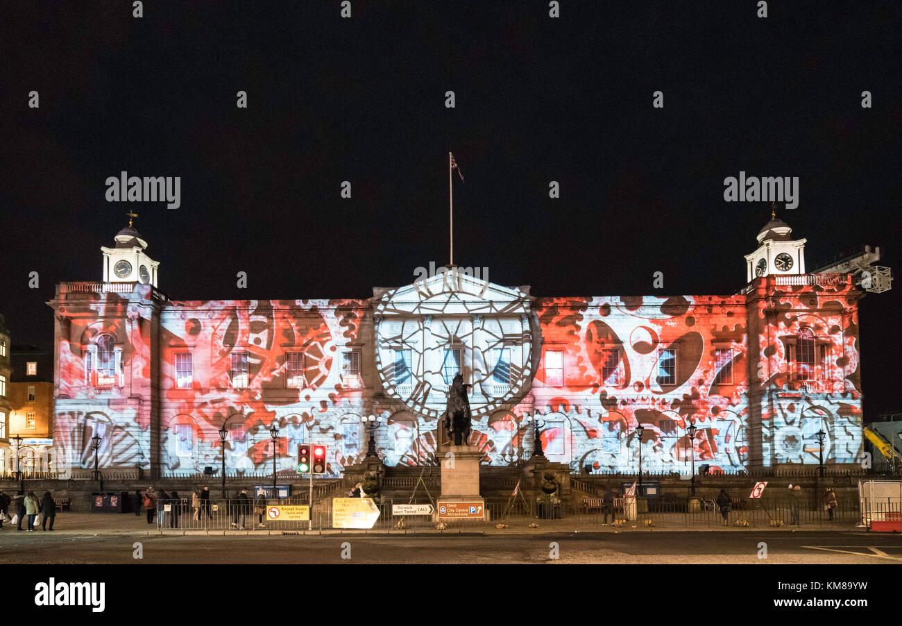 Edinburgh's Giant Christmas Advent Calendar projected on General Register House in Edinburgh, Scotland, United - Stock Image