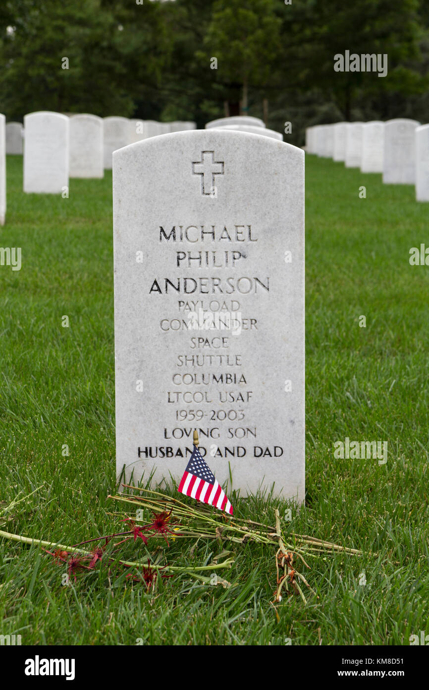 The grave of Michael Philip Anderson, a member of the Space Shuttle Columbia, Arlington National Cemetery, Virginia, - Stock Image